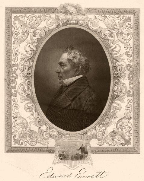 Associate Product AMERICAN CIVIL WAR. Edward Everett. Inset. with Lafayette 1824 1864 old print