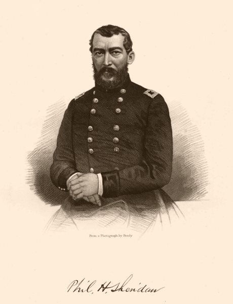 Associate Product AMERICAN CIVIL WAR. Portrait of General Sheridan 1864 old antique print