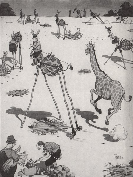 Associate Product HEATH ROBINSON. Decoying the Giraffe 1973 old vintage print picture