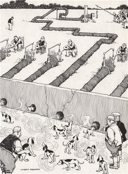 HEATH ROBINSON. Scent Discrimination in Foxhounds 1973 old vintage print