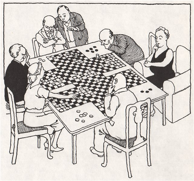 Associate Product HEATH ROBINSON. Six-handed Draughts 1973 old vintage print picture