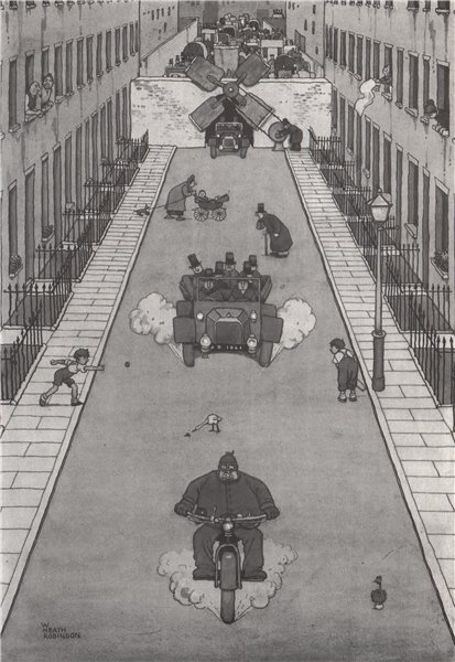 Associate Product HEATH ROBINSON. One at a time lock in Brompton road. Motoring 1973 old print