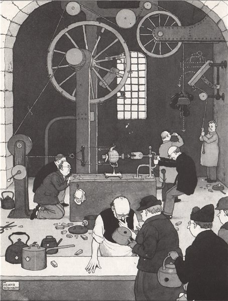 Associate Product HEATH ROBINSON. Square pegs into round holes 1973 old vintage print picture