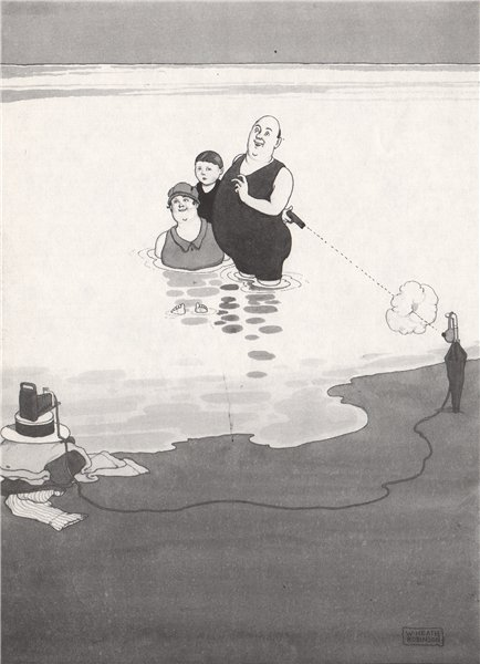 Associate Product HEATH ROBINSON. Taking one's own photo while bathing. Selfie 1973 old print