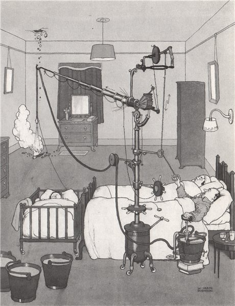Associate Product HEATH ROBINSON. A bedside bomb extinguisher. Second World War 1973 old print