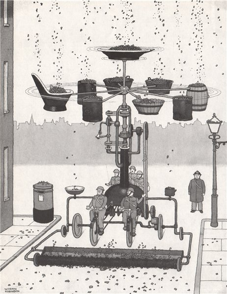 Associate Product HEATH ROBINSON. The Shrapnel Collector. Second World War 1973 old print