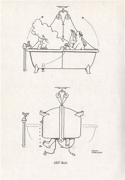 Associate Product HEATH ROBINSON. ARP Bath. Second World War. Air Raid Precautions 1973 print