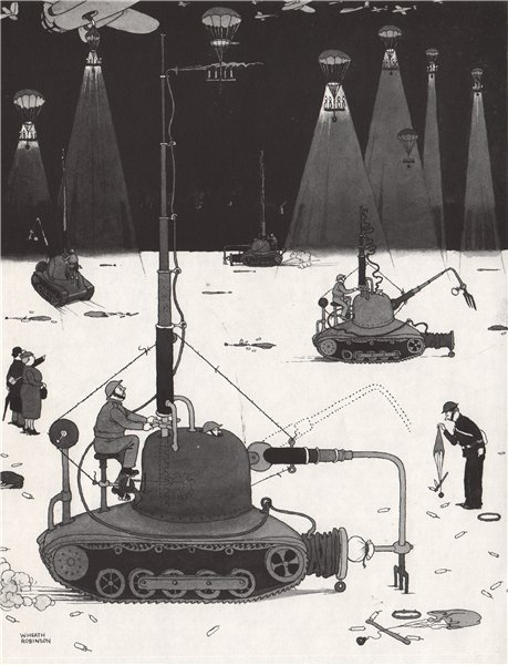 Associate Product HEATH ROBINSON. Blowing out Parachute Flares. Second World War 1973 old print