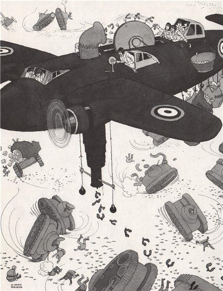 Associate Product HEATH ROBINSON. Tank Skidders. Second World War 1973 old vintage print picture