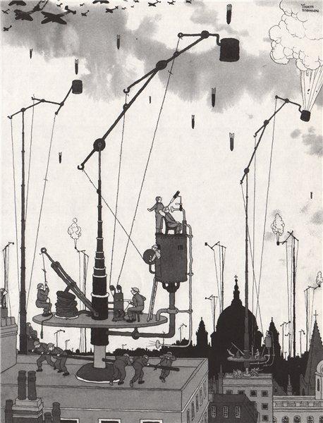 Associate Product HEATH ROBINSON. The Multi-movement bomb catcher. Second World War 1973 print