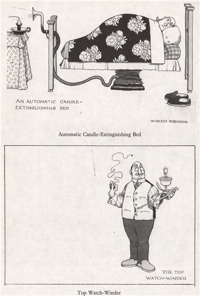 Associate Product HEATH ROBINSON. Automatic Candle-Extinguishing bed; Top Watch-Winder 1973