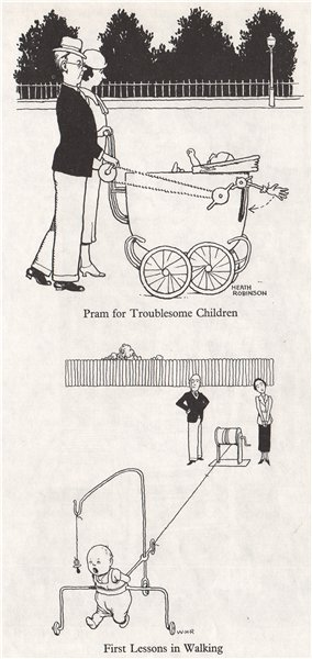 Associate Product HEATH ROBINSON. Pram for troublesome children; First walking lesson. Kids 1973