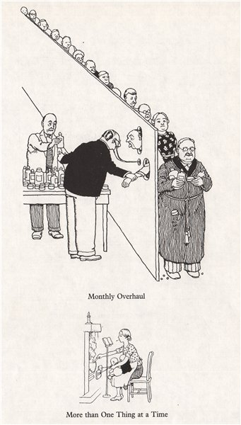 Associate Product HEATH ROBINSON. Monthly Overhaul; More than one thing at a time. Domestic 1973