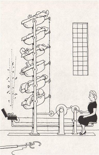 HEATH ROBINSON. Six Tier communal Cradle. Domestic 1973 old vintage print