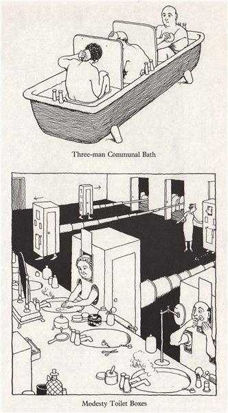 Associate Product HEATH ROBINSON. Three man communal bath; Modesty Toilet Boxes. Domestic 1973
