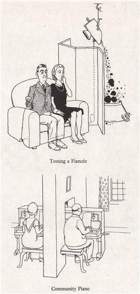 Associate Product HEATH ROBINSON. Testing a Fiancée; Community Piano. Domestic 1973 old print