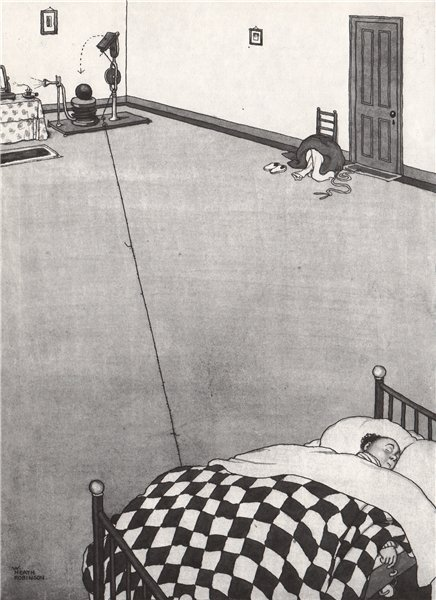 Associate Product HEATH ROBINSON. Blowing out a candle a long way from the bed. Domestic 1973