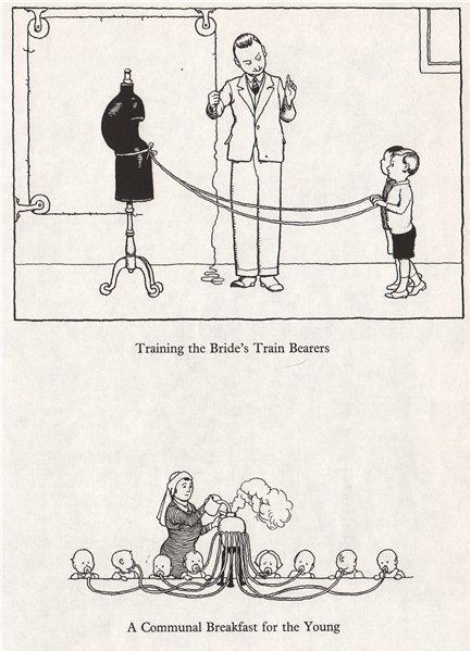 Associate Product HEATH ROBINSON. Training Bride's train bearers. Communal babies' breakfast 1973