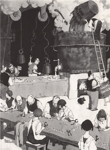 Associate Product HEATH ROBINSON. Busy afternoon in the Whitebait factory. Gastronomic 1973