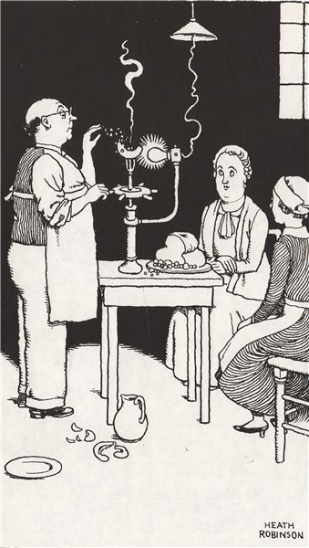 HEATH ROBINSON. Frittering a Banana by Electricity. Gastronomic 1973 old print