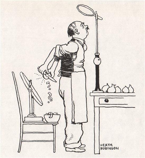 Associate Product HEATH ROBINSON. How to avoid tears when peeling onions. Gastronomic 1973 print