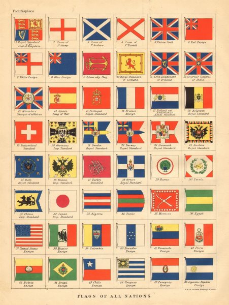 Associate Product NATIONAL FLAGS. Ensigns, Royal & Imperial Standards. JOHNSTON 1897 old map
