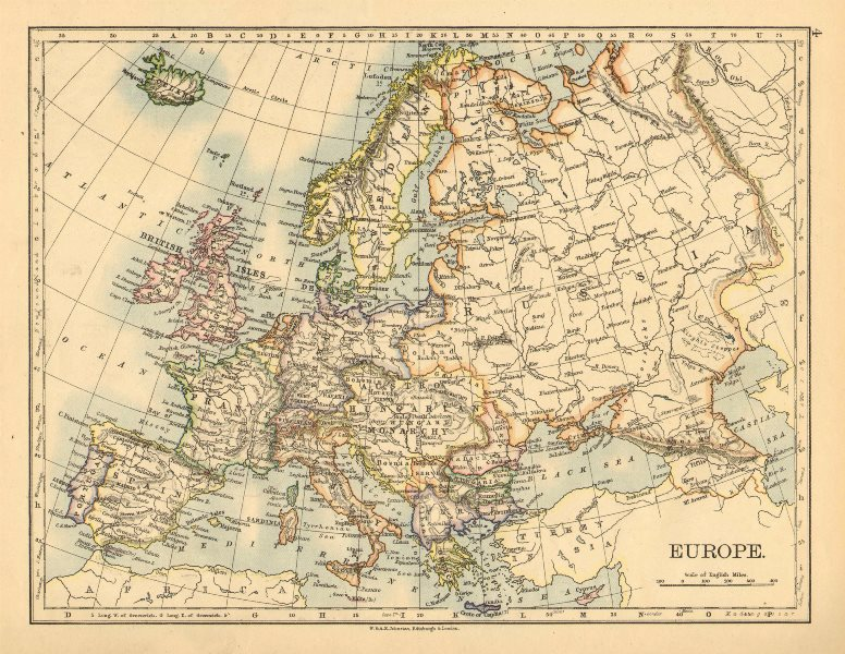 Associate Product EUROPE POLITICAL. Austria-Hungary. United Sweden & Norway. JOHNSTON 1897 map