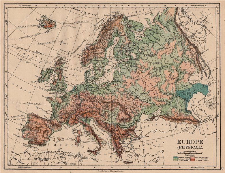 Associate Product EUROPE PHYSICAL. Relief Ocean depths Key mountains Plains. JOHNSTON 1897 map