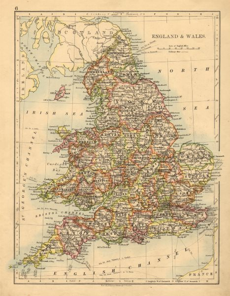 Associate Product ENGLAND AND WALES. Counties. Westmoreland. Telegraph cables. JOHNSTON 1897 map