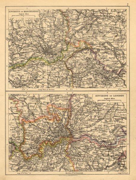 Associate Product LONDON & MANCHESTER. Environs. Lancs Cheshire Middx Surrey JOHNSTON 1897 map