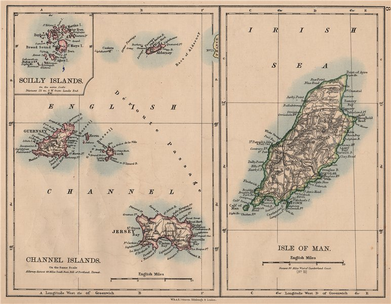 Associate Product BRITISH ISLANDS. Isle of Man Channel Islands Jersey Guernsey.JOHNSTON 1897 map