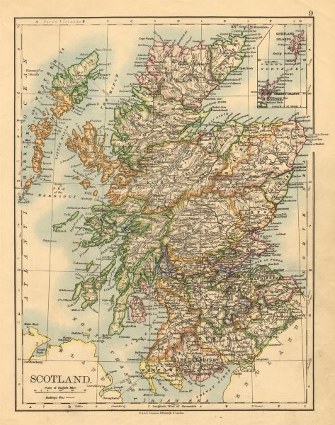 Associate Product SCOTLAND. Counties. Undersea telegraph cables. JOHNSTON 1897 old antique map