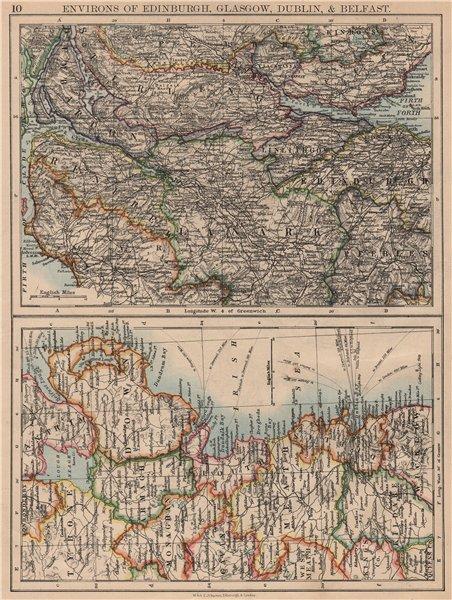 Associate Product SCOTTISH  & IRISH CITIES. Edinburgh Glasgow Dublin Belfast environs 1897 map