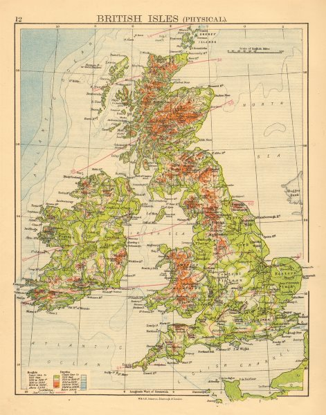 Associate Product BRITISH ISLES RELIEF. Showing isotherms in January & July. JOHNSTON 1897 map