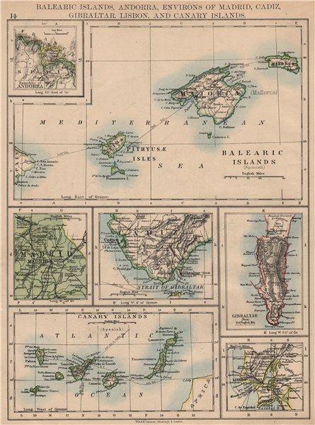 Associate Product IBERIA. Balearics Canaries Gibraltar Andorra Madrid Lisbon. JOHNSTON 1897 map