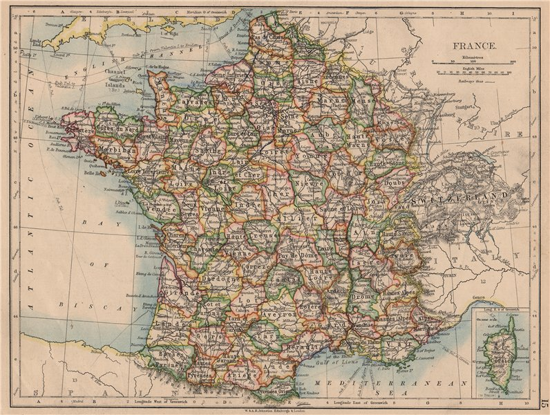 Associate Product FRANCE. German Alsace & Lorraine. Undersea telegraph cables. JOHNSTON 1897 map