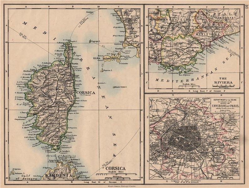 Associate Product FRANCE. Riviera Côte d'Azur Corsica Paris environs. JOHNSTON 1897 old map