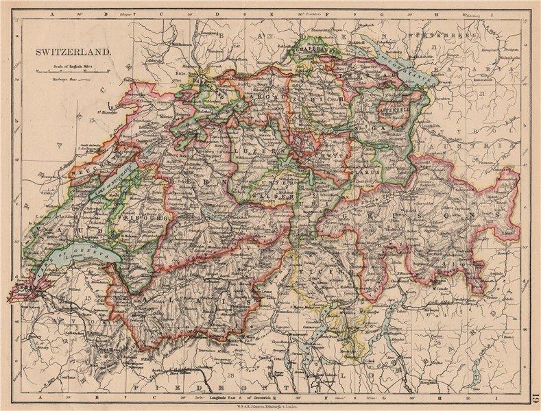 Associate Product SWITZERLAND. Shows cantons & railways. Alps. Italian lakes. JOHNSTON 1897 map