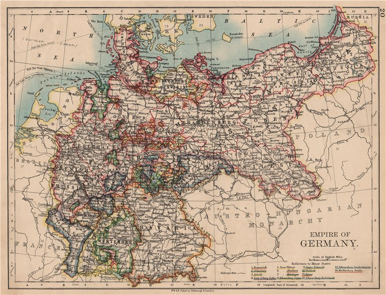 Associate Product EMPIRE OF GERMANY. States. Prussia Bavaria Alsace Lorraine. JOHNSTON 1897 map