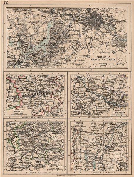 Associate Product GERMAN CITIES. Berlin Potsdam Dresden Stuttgart Munich. JOHNSTON 1897 old map