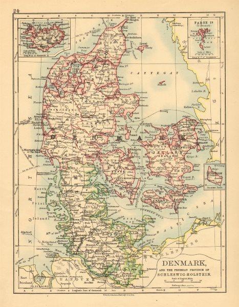 Associate Product DENMARK SLESVIG-HOLSTEN. Prussian Schleswig-Holstein. JOHNSTON 1897 old map