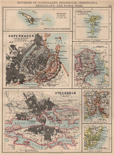 Associate Product SCANDINAVIAN CITIES. Copenhagen Stockholm Oslo Christiania.JOHNSTON 1897 map