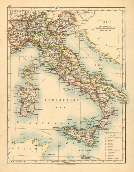 Associate Product ITALY. Showing states/territorial divisions. JOHNSTON 1897 old antique map