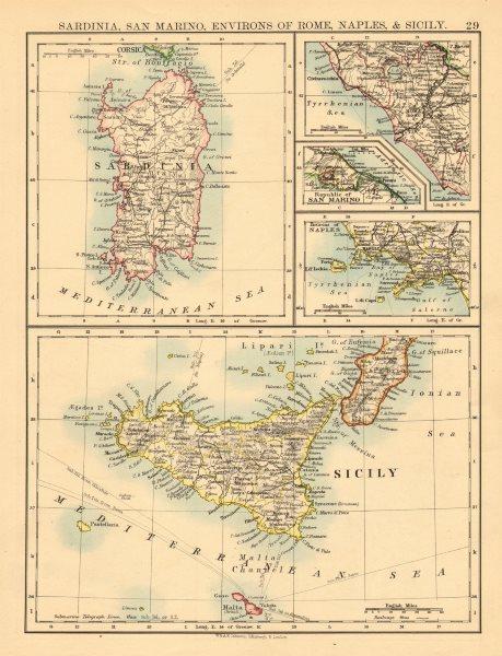 ITALIAN ISLANDS. Sardinia Sicily Ischia Capri Malta S Marino JOHNSTON 1897 map