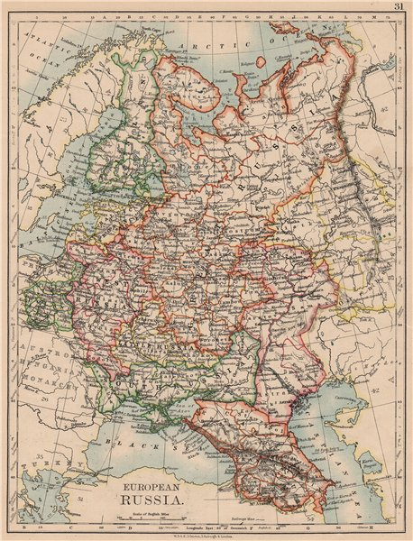 Associate Product EUROPEAN RUSSIA. Shows Great/Little/West/South Russia.Poland.JOHNSTON 1897 map