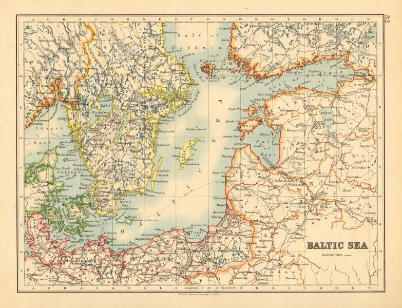 Austria-Hungary EUROPE POLITICAL United Sweden /& Norway JOHNSTON 1897 map