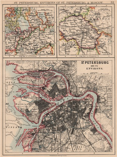 Associate Product ST PETERSBURG. Town city plan & environs. + Moscow environs. JOHNSTON 1897 map