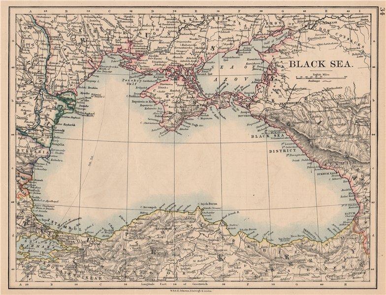 Associate Product BLACK SEA. Russia Turkey Crimea Romania Bulgaria Kutais. JOHNSTON 1897 old map