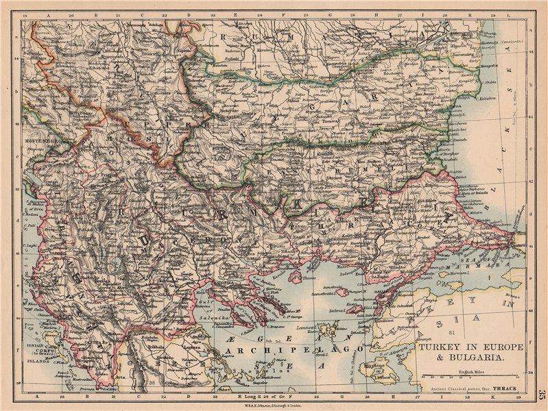 Associate Product TURKEY IN EUROPE & BULGARIA. Rumili Eastern Rumelia Balkans. JOHNSTON 1897 map