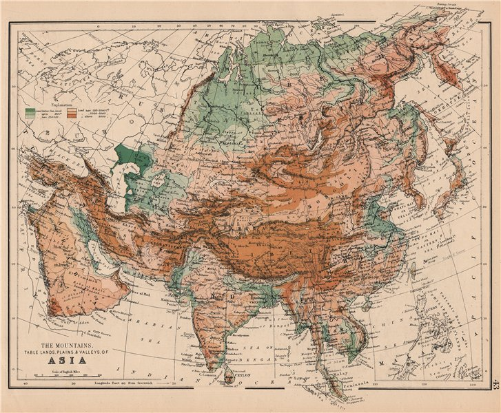 Associate Product ASIA PHYSICAL. Relief Mountain heights Ocean depths Rivers. JOHNSTON 1897 map
